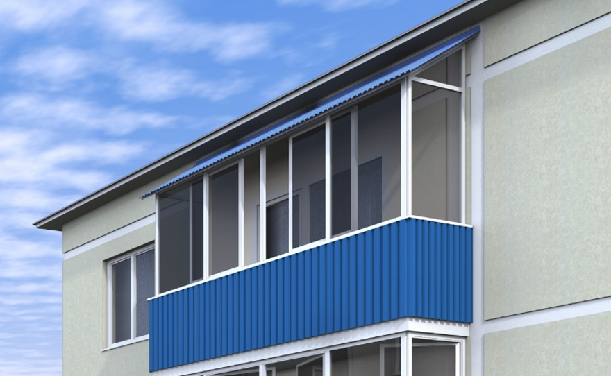 Крыши балконов верхних этажей.
